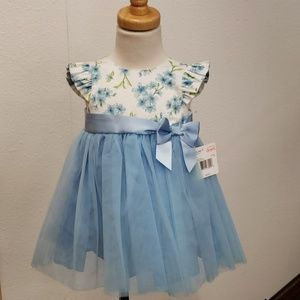Little me blue floral dress